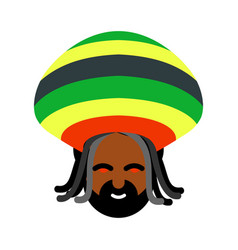 Rastaman avatar rasta cap and dreadlocks sign vector