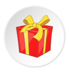 Red gift box with yellow ribbon icon cartoon style vector image vector image