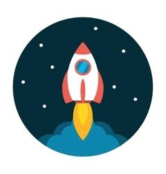 Rocket launch flat icon vector