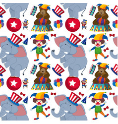 Seamless background with clown and circus animals vector