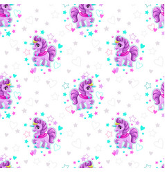 seamless pattern with beautiful cartoon little vector image vector image