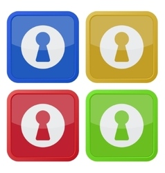 Set of four square icons with keyhole vector