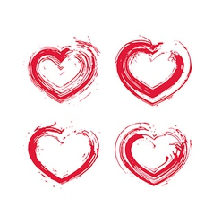 Set of hand-drawn red love heart icons loving vector image