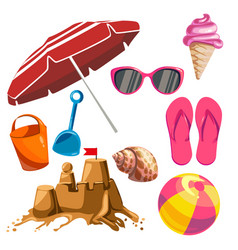 set of summer things vector image vector image