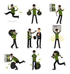 sneaking thiefs set burglars committing crimes vector image vector image