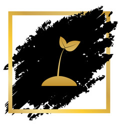 Sprout sign golden icon at vector