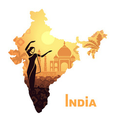 the map with the landscape of india and a dancing vector image vector image