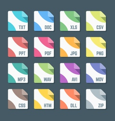 Various color flat style minimal file formats vector
