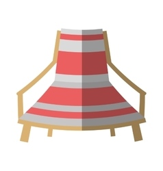 cartoon pink and white chair beach break shadow vector image