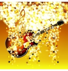 treble clef in the cloud of stars and jazz guitar vector image