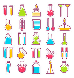 Laboratory glass vials and chemical tests vector