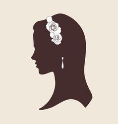 wedding design silhouette of bride wearing tiara vector image