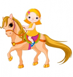 Girl on horse vector