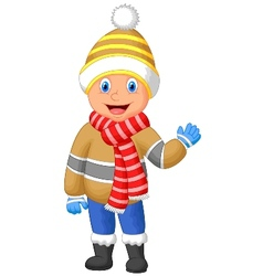 Cartoon a boy in winter clothes waving hand vector
