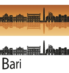 Bari skyline in orange background vector