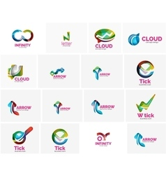 Set of tick ok cloud or arrow concept icons vector
