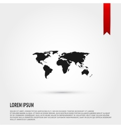 World map icon flat design style template for vector