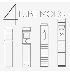 4 thin lines vaping tube mods set vector