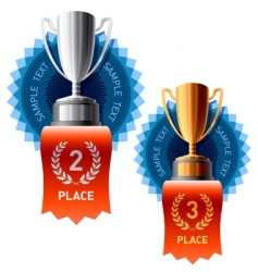 Silver and bronze awards vector