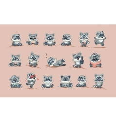 Isolated emoji character cartoon raccoon cub vector
