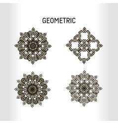 Set of four geometrical figures or mandalas for vector