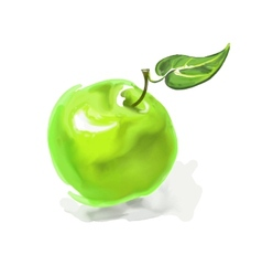 apple hand drawn painted vector image