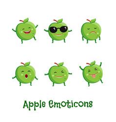 apple smiles cute cartoon emoticons emoji icons vector image vector image