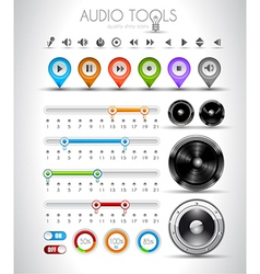 Audio tools design elements collection vector image