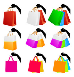 Bag icon set with woman hand vector