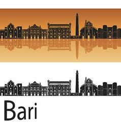 Bari skyline in orange background vector
