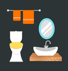 bathroom icons colored set with process water vector image vector image