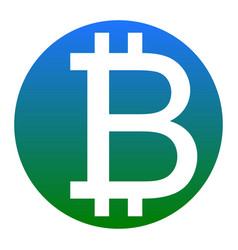 bitcoin sign white icon in bluish circle vector image