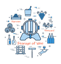 blue round concept - storage of wine vector image vector image