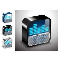 button icons 3D equalizer radio vector image vector image