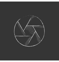 Camera shutter drawn in chalk icon vector