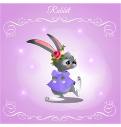Dancer rabbit girl on a purple background vector