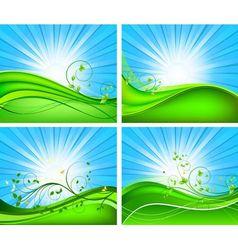 Floral background design set vector image vector image