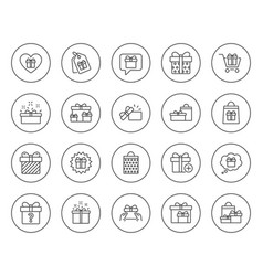 Gifts line icons present offer and sale vector