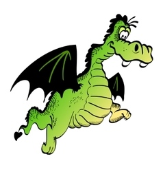 Green funny cartoon dragon isolated on a white vector