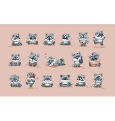 Isolated emoji character cartoon raccoon cub vector