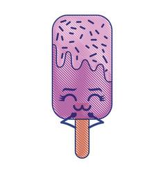 Kawaii ice cream stick cartoon character vector