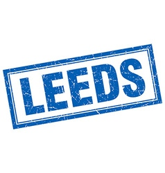 Leeds blue square grunge stamp on white vector