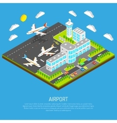 Poster Of Isometric Airport vector image