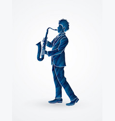 saxophonist player a man play saxophone vector image