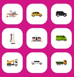 Set of 9 editable car flat icons includes symbols vector