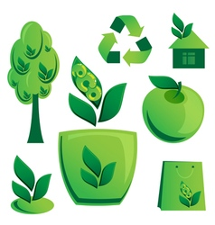 Set of Ecological Icons on white background vector image vector image