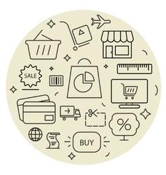 Shopping icons cirle set thin line vector
