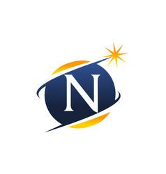 swoosh logo letter n vector image vector image