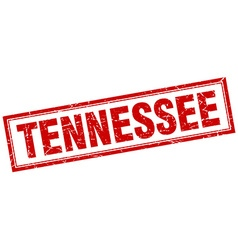 Tennessee red square grunge stamp on white vector