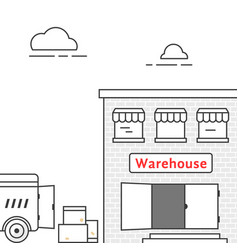thin line warehouse with delivery vehicle vector image